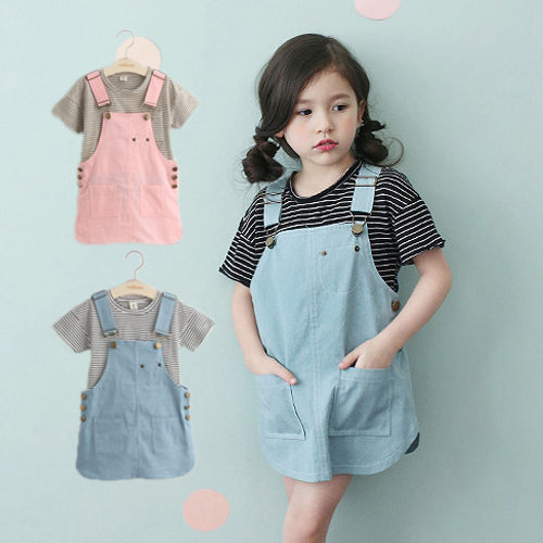 牛仔吊帶裙 韓版女童粉色藍色牛仔吊帶裙(不含上衣)