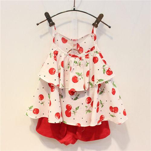 套裝 夏款韓版兒童棉麻細肩帶櫻桃短褲套裝