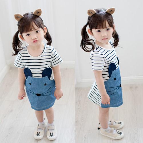 連衣裙 夏款韓版女童拼接老鼠牛仔短袖連衣裙
