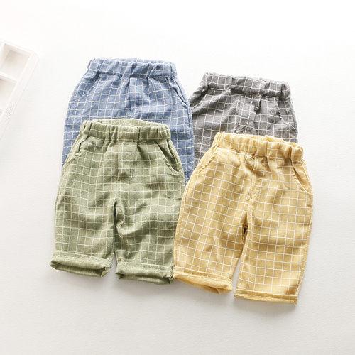 童短褲休閒褲 兒童寬鬆棉麻方格短褲