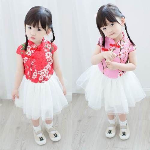 童連衣裙 女童刺繡旗袍拼紗短袖連衣裙