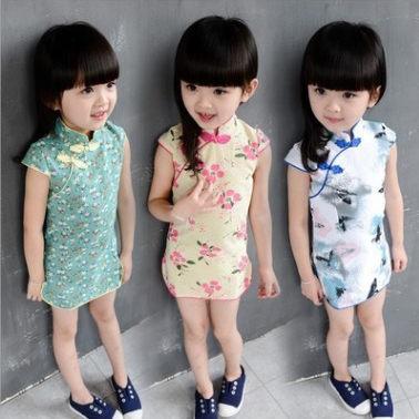 童連衣裙 女童旗袍復古風短袖唐裝
