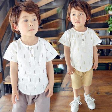 童套裝 男童棉麻短袖套裝