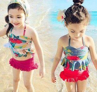 童泳裝 韓版女童花朵綁帶式二件式泳衣(含泳帽)