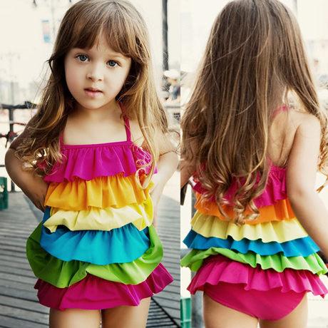 童泳裝 女童時尚彩虹款連身衣泳裝(肩帶可調)