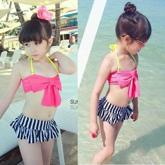 童泳裝 韓版女童可愛大蝴蝶結兩件式泳裝(含泳帽)
