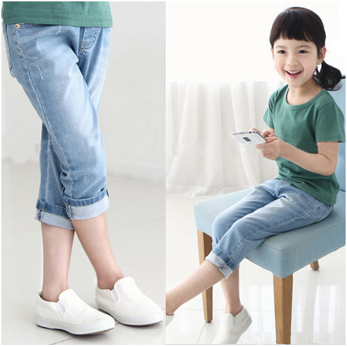 七分褲 女童純色七分褲