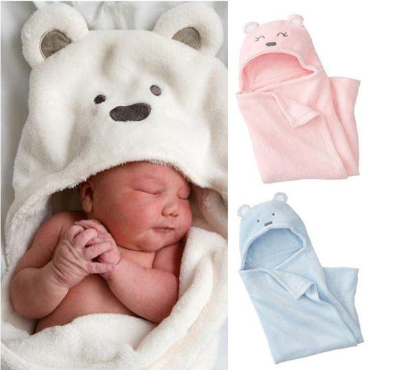 嬰兒包巾抱毯 小熊造型珊瑚絨保暖柔和抱毯睡袋