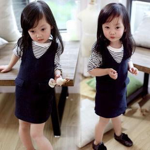 長袖洋裝 女童白領條紋T恤+牛仔背帶裙W67002