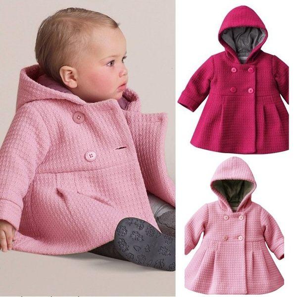 AIB小舖~嬰兒提提花夾棉大衣連帽外套W69002