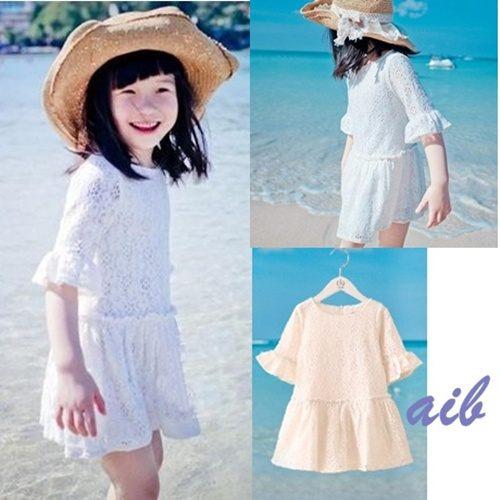 AIB 小舖~ 女童蕾絲中長袖白色連衣裙洋裝