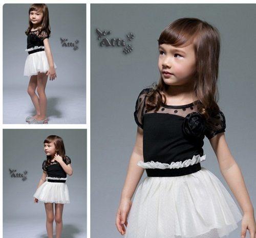 連衣裙洋裝 韓版女童蕾絲公主連衣裙黑白拼接