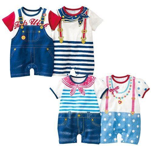 連身衣 夏款嬰兒寶寶牛仔條紋純棉連身衣