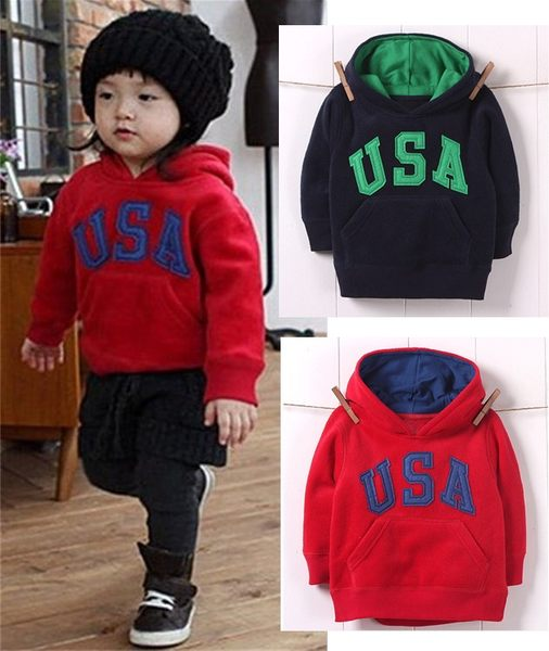冬款保暖加厚中小男女童USA連帽長袖運動衣T恤