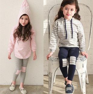 套裝 韓版女童條紋貼布套裝