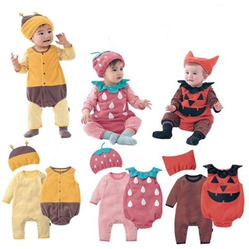 秋冬嬰兒造型純棉三件套蜜蜂草莓南瓜長袖連身衣W61050