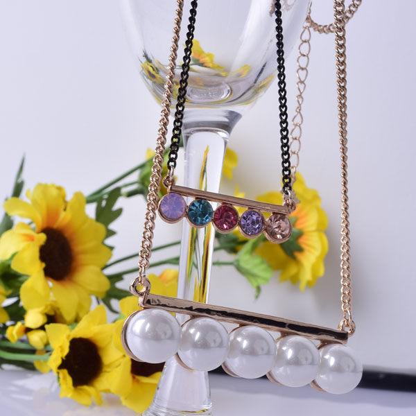 珍珠水鑽長鍊4O公分長 合 金 材質 Q8