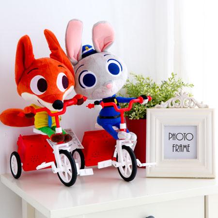 正版動物方城市可動娃娃 騎腳踏車款 兔子 茱蒂 哈茱蒂 狐狸 尼克 娃娃 玩偶 玩具 Zootopia 迪士尼【B062110】