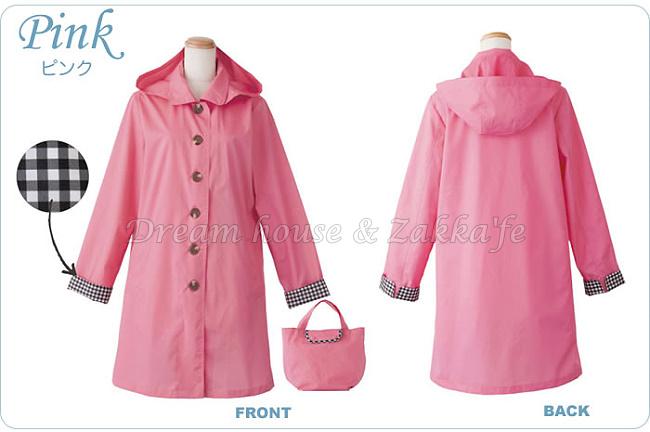 日本進口 because 大衣造型 時尚透氣防水雨衣 《 粉紅格紋款 》★ Zakka'fe ★