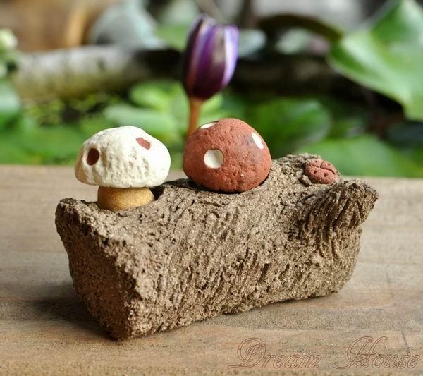 超可愛陶樹幹《兩洞》《小湯圓貓頭鷹與迷你蘑菇的家》★台灣設計純手工捏製★手作陶製品