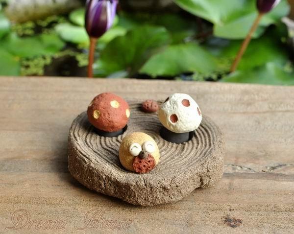 超可愛陶樹幹《三洞》《小湯圓貓頭鷹與迷你蘑菇的家》★台灣設計純手工捏製★手作陶製品