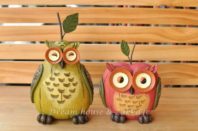 仿木雕作舊可愛水果貓頭鷹擺飾《梨子/蘋果 2款一組》★超可愛★