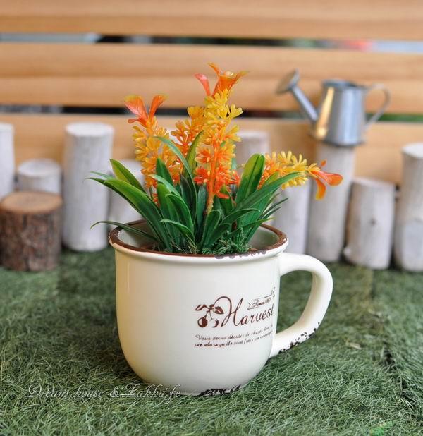 Zakka鄉村風仿舊杯子造型陶瓷小花器《可當小物置物盒喔》★適合多肉植物/種子盆栽★