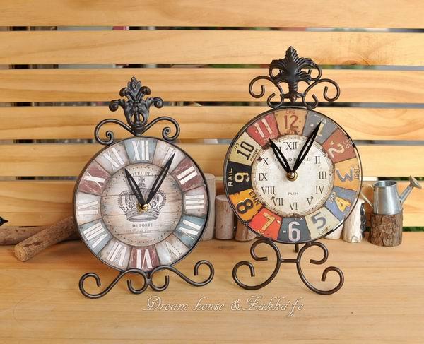 復古仿舊鐵藝彩色數字時鐘/桌鐘《無秒針設計》《兩款任選》★漂亮又實用★適合店面裝飾使用★