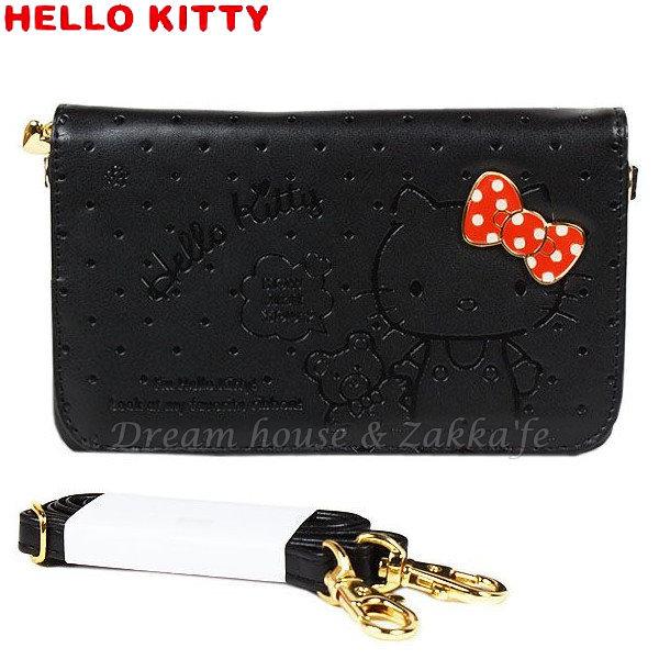 日本 三麗鷗 Hello Kitty 可拆式多用途 側背/手拿 皮包/皮夾 《 多夾層 附可拆式背帶喔 》★ Zakka'fe ★