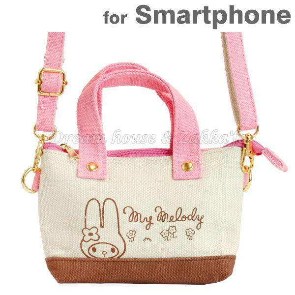 日本正版 三麗鷗 Sanrio Melody 可斜背 小物袋/手機袋/萬用袋/隨身包 《 可直接觸控手機喔 》★ Zakka'fe ★