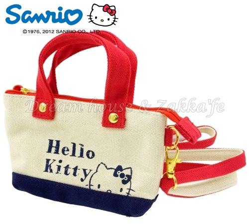 日本正版 三麗鷗 Sanrio KITTY 可斜背 小物袋/手機袋/萬用袋/隨身包 《 可直接觸控手機喔 》★ Zakka'fe ★