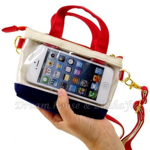 日本進口 紅提把款 可斜背 小物袋/手機袋/萬用袋/隨身包 《 可直接觸控手機喔 》 ★ Zakka'fe ★