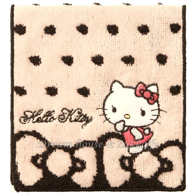 日本三麗鷗 Kitty 毛巾小物袋/毛巾布折袋《 蝴蝶結 》★ 收納私密小物/暖暖包/保冷袋 多用途喔 ★ Zakka'fe