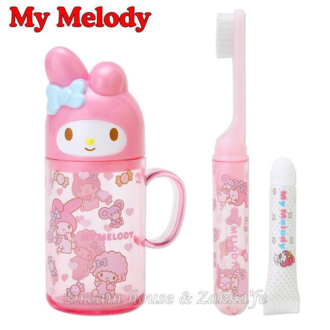 日本 sanrio 三麗鷗 My Melody 粉紅盥洗組/牙刷/牙膏/漱口杯/旅行組 組合 《 美樂蒂造型蓋子 》 ★ 日本製 ★