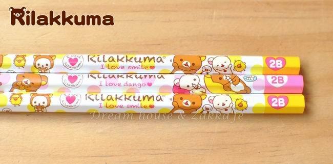 日本 San-X 拉拉熊 Rilakkuma 鉛筆 六角軸 2B《 日本uni 》《 3入/組 》 ★ 日本製 原裝進口 ★