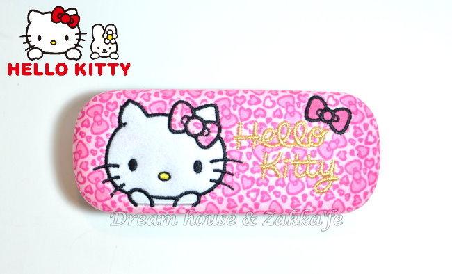 日本三麗鷗 Kitty 粉紅豹紋眼鏡盒/鉛筆盒/小物盒《 原裝進口 》★ Zakka'fe ★