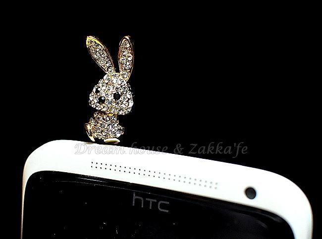 玻璃水鑽 兔子造型 防塵耳機塞 白《 韓國製 》★ Zakka'fe ★