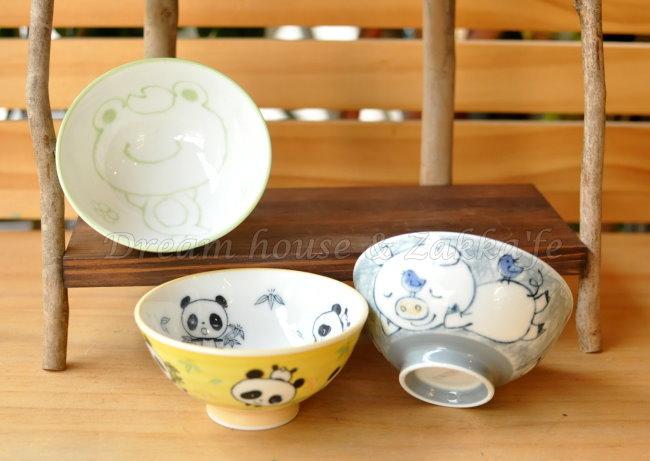 日本製 schen 陶瓷茶碗/兒童碗/飯碗/碗 《 綠色青蛙/灰色小豬/黃色貓熊 3款任選 》 《 日本進口 》★ Zakka'fe ★