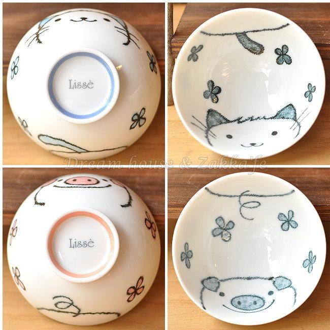 日本製 Lisse 陶瓷茶碗/兒童碗/飯碗/碗 《 小豬/小貓 2款任選 》 《 日本進口 》★ Zakka'fe ★