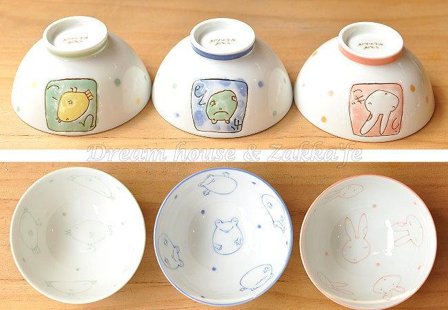 日本製 點點陶瓷茶碗/兒童碗/飯碗/碗 《 兔子/小雞/青蛙 3款任選 》 《 日本進口 》★ Zakka'fe ★
