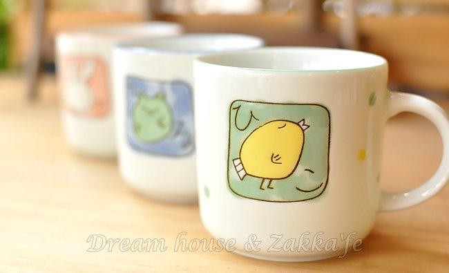 日本製 點點陶瓷茶杯/水杯/單耳杯/咖啡杯 《 兔子/小雞/青蛙 3款任選 》 《 日本進口 》★ Zakka'fe ★