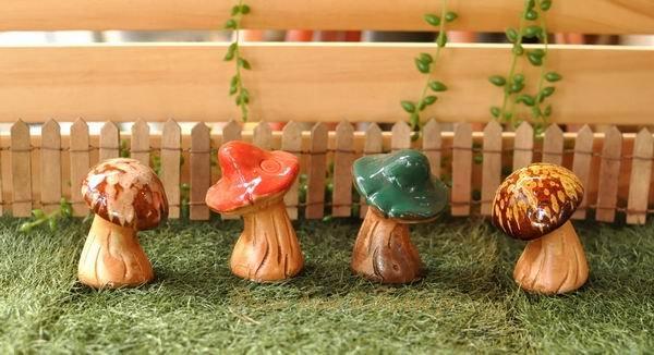 超可愛亮彩陶瓷小草菇/小香菇/小蘑菇擺飾《4款任選》★鄉村風★