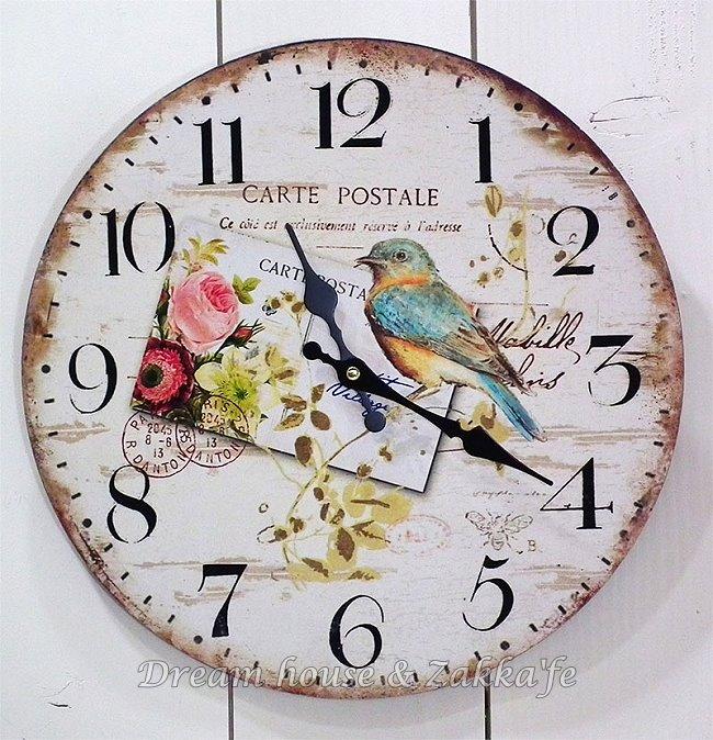 復古仿舊木製時鐘 花與小鳥《 無秒針設計 》★漂亮又實用★ Zakka'fe