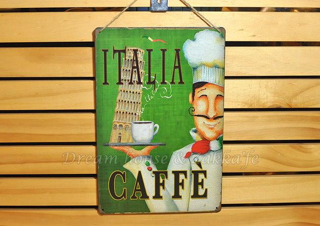 超漂亮復古仿舊鐵板壁掛/鐵板畫 小 《 ITALIA廚師 》★美式鄉村風★ Zakka'fe
