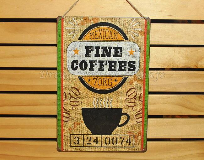 超漂亮復古仿舊鐵板壁掛/鐵板畫 小 《 FINE咖啡 》★美式鄉村風★ Zakka'fe