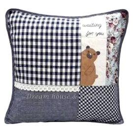 超可愛日式和風拼布抱枕套 藍色格子小熊《 45cmX45cm 》 ★超有質感喔★ Zakka'fe