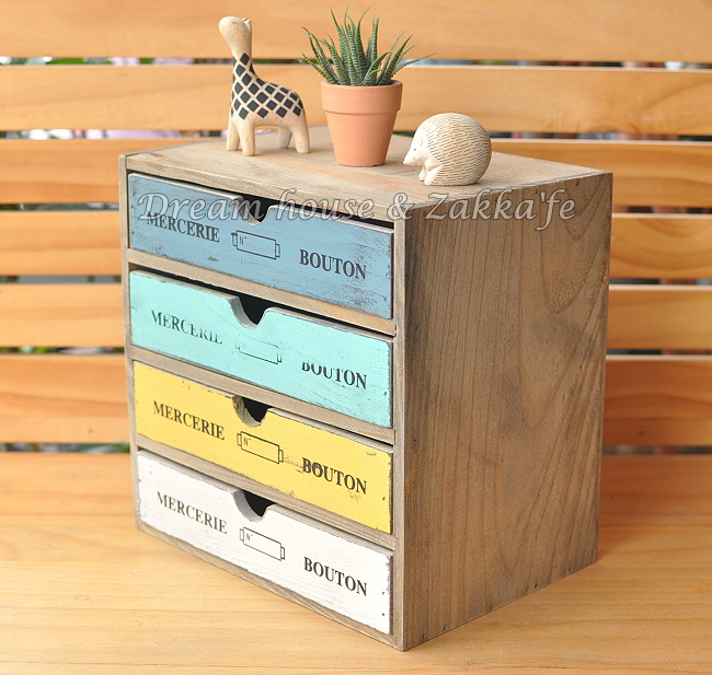 Zakka 鄉村風 木製仿舊復古 四抽桌上櫃/收納櫃/小物收納盒 ★很漂亮喔★ Zakka'fe