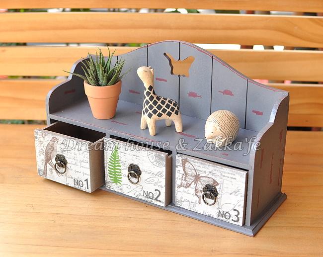Zakka 鄉村風 木製仿舊復古 三抽桌上櫃/收納櫃/小物收納盒 ★很漂亮喔★ Zakka'fe