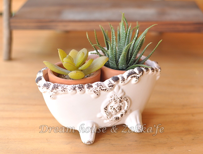 Zakka 鄉村風 仿舊陶瓷花器 古典浴缸造型《 底部有瀝水孔 》★適合多肉植物/種子盆栽★ Zakka'fe