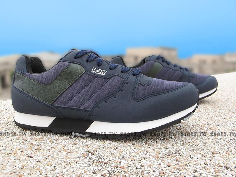 Shoestw【64M1SO65DB】PONY SOLA-V 復古慢跑鞋 內增高 深藍黑 麂皮